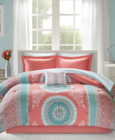 Intelligent Design Loretta Comforter Set Queen Size Bed in A Bag - Coral, Aqua, Bohemian Chic Medallion – 9 Piece Bed Sets – Ultra Soft Microfiber Teen Bedding for Girls Bedroom Best Quilted Comforter, Set USA Comforter Sets, Bedding Sets, Bed, Bed In A Bag, Pink Bedding, Intelligent Design, Comforters, Dorm Bedding, Twin Comforter Sets