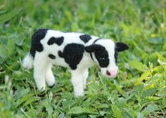 Needle Felted Baby Cow or Calf by ~amber-rose-creations on deviantART