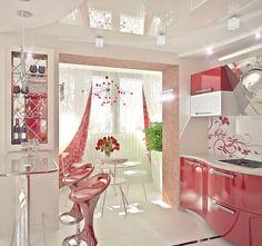 Кухня с барной стеклянной стойкой