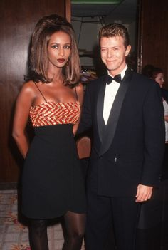 Musician David Bowie and model Iman attend Sixth Annual American Cinematheque Awards on March 22 1991 at the Century Plaza Hotel in Century City...