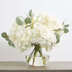 White Hydrangea Centerpieces, White Floral Arrangements, Eucalyptus Centerpiece, Fake Flower Arrangements, White Vases, Fake Flowers, Flower Vases, Hydrangea Vase, Vase Arrangements