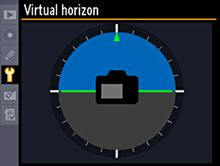 """Electronic Virtual Horizon  The high-density color LCD monitor of the D3S and D3X, combined with Nikon's innovative Electronic Virtual Horizon, delivers instant, accurate confirmation of your camera's position relative to """"horizontal level."""" You can also level the D3S and D3X while looking through the viewfinder. In Live View shooting, you can choose to display the virtual horizon on the LCD, above the monitor image — ideal for landscape and architectural photography."""