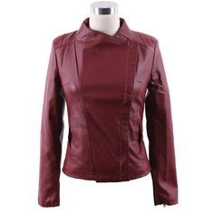 Oxblood Band Collar Pocket Side PU Leather Biker Jacket ($40) ❤ liked on Polyvore