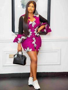 Raglan Sleeve Short Ankara Gown Modern African Print Dresses, Ankara Short Gown Styles, Short African Dresses, Short Gowns, Ankara Gowns, African Fashion Ankara, Latest African Fashion Dresses, African Print Fashion, Fashion Prints