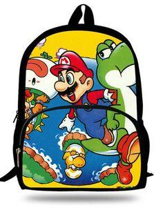 10944785173a 16-inch Mochila Infantil Teenage Boys Backpack Child Super Mario SchoolBag  For Kids Aged 7-13 Girls Backpacks Super Mario Print