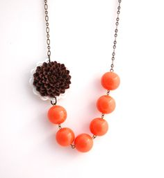 What a beautiful necklace @Etsy & the perfect color combo for this time of year! Brown & Orange Chrysanthemum Necklace