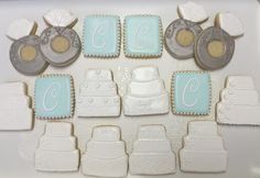 Wedding Cake, Engagement Ring Decorated Sugar Cookies by I Am the Cookie Lady