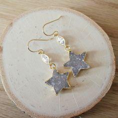 40% OFF CLEARANCE Gold Star Druzy CZ Chandelier by EwelinaPas