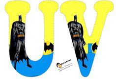 Alfabeto de Batman en fondo amarillo y azul. | Oh my Alfabetos! Batman Birthday, Batman Party, Superhero Party, Superhero Ideas, Printable Banner, Printables, Spiderman Images, Girl Themes, Alphabet And Numbers