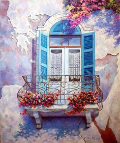 Window to the Mediterranean/ Original oil painting on canvas