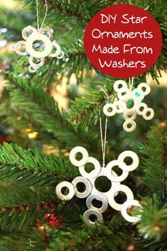 Use small washers from the hardware store to make these cute DIY star ornaments – kids will love making them with you, and they are so inexpensive!