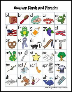 Teaching blends and digraphs. Free printables and more!
