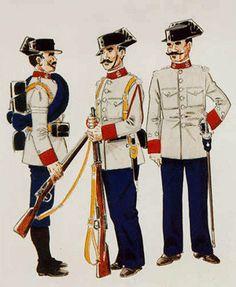 Guardia en Uniforme de Servicio en despoblado ( 1909 – 11 ) Guardia 1º en Uniforme de Escolta de Trenes ( 1909 – 11 ) Teniente en Uniforme de Servicio.