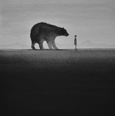 Elicia Edijanto's black-and-white watercolor paintings depict intimate scenes of children interacting with wild animals framed in striking silhouettes. Description from mymodernmet.com. I searched for this on bing.com/images