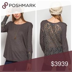 Grey Lace Contrast Long Sleeve Top Ships 11/9. Anything but basic! This grey top has an open lace back design. It has a loose fit and gives a sassy twist to all your casual looks. The lace detail continues along the cuffs of the sleeves. NEW Boutique Tops