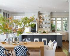 I like the lighter gray cabinets with the darker colored island. Love the blue and white chairs. UPDATING THE KITCHEN – CITRINELIVING