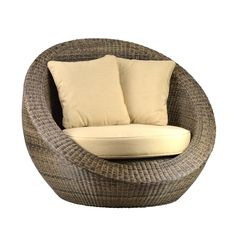 Woven FIber Round Chair is high quality durable poly resin over a strong sturdy aluminum base. Add this chair to your outdoor patio area today! Includes a ultra-durable custom Sunbrella fabric covered cushion with quick-dry foam. Patio chair, boho, beach house.