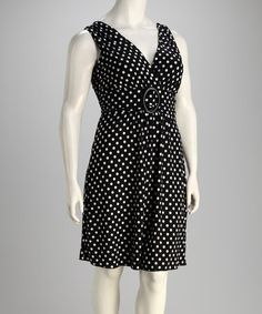 Take a look at this Black Polka Dot Ring Dress - Plus by Star Vixen on #zulily today!