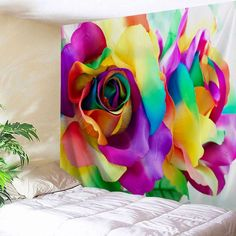 Valentine's Day Colorful Rose Printed Wall Hanging Art Tapestry -