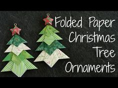 Learn how to make these easy folded paper Christmas tree ornaments! Using just 5 sheets of scrapbooking paper and supplies you probably already have around the house, these inexpensive origami Origami Christmas Tree Card, Diy Christmas Star, Origami Ornaments, Paper Christmas Ornaments, Holiday Crafts, White Christmas, Christmas Decorations, Christmas Room, Diy Ornaments