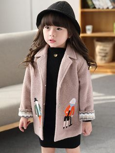 New 2017 Autumn Winter Baby Girls Coat Kids Thicken Jackets Children Caroon Embroidery Woolen Coat Toddler Toddler Girl Outfits, Toddler Fashion, Toddler Girls, Kids Girls, Baby Girls, Pretty Outfits, Beautiful Outfits, Pretty Clothes, Beautiful Clothes