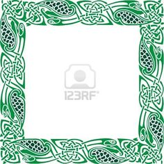 Abstract Celtic patterns with flower designs on the border Stock Photo Celtic Patterns, Celtic Designs, Cross Stitch Patterns, Celtic Border, Celtic Cross Stitch, Celtic Images, Printable Border, Pyrography Patterns, Borders And Frames