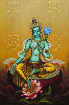 Green Print featuring the painting Green Tara by Yuliya Glavnaya