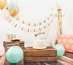 Teepee & Leaf Birthday Party Banner  Free by Eventsinaboxbyjaneal