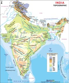 The topographic map of India makes you familiar with all the topographic features of India. Geography Activities, Physical Geography, Teaching Geography, Himalayas Map, Indian River Map, Mountains In India, India World Map, World Political Map, Topography Map