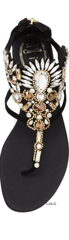 Beautiful jeweled sandals! #fashion #style #shoes