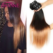 7A Silky Straight Ombre Brazilian Hair Weaves 3/4 Bundles Lot 3 Tones Ombre Straight Human Hair Extensions Cheap Thick Bundles(China (Mainland))