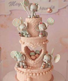 Beautiful Cake Designs, Beautiful Cakes, Amazing Cakes, Pastel Cakes, Girly Cakes, Dumbo Cake, Quilted Cake, Candy Background, Elephant Cakes