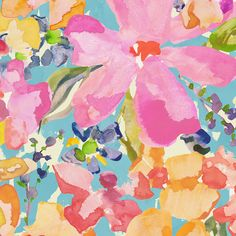 Coral Flower Bouquet Fabric by Carousel Designs.
