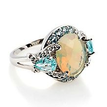 Ethiopian Opal and Apatite Sterling Silver Ring