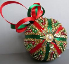 Sequined Christmas Ornament  Red Green and Gold by OrnamentDesigns