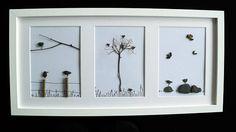 Image from pebbles Pebble art birds set of 3 50x25cm