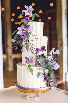 Succulent and lavender hued flowers: http://www.stylemepretty.com/2015/06/14/wedding-cakes-almost-too-pretty-to-eat/