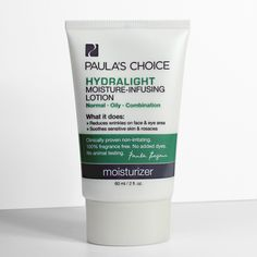 Calm down. Sensitive skin and rosacea will breathe a sigh of relief at the first touch of Hydralight Moisture-Infusing Lotion, light-as-water and won't shine or feel greasy. #PaulasChoice #Rosacea