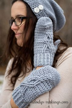 These super classy mittens have a comfy fit and feature a beautiful cabled element on the top. With multiple sizes, this is a pattern you'll be able to use again and again. Crochet Mittens Pattern, Crochet Gloves, Easy Crochet Patterns, Crochet Hooks, Free Crochet, Knit Crochet, Knitting Patterns, Crochet Ideas, Crochet Tutorials