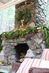 Great Christmas Deco Idea For The Outdoor Rock Fireplace!