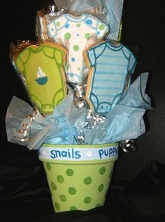 Blue And Green Baby Shower Cookie Bouquet German Chocolate Cookies, Chocolate Cookie Bars, Jordan Baby Shower, Baby Boy Shower, Baby Showers, Fancy Cookies, Cupcake Cookies, Sugar Cookies, Cupcakes