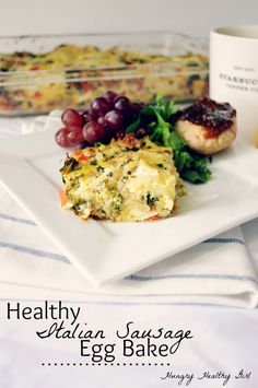 A recipe for a Healthy Italian Sausage Egg Bake- an egg-cellent make-ahead breakfast or brunch meal that's made lighter. Perfect to feed a large group!