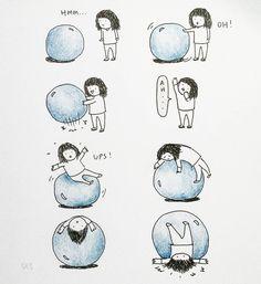 Curious. Girl and yogaball #illustration