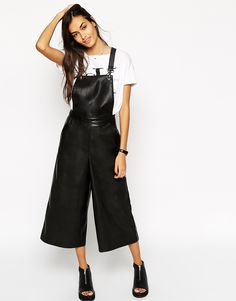 Image 1 ofASOS Dungarees In Leather Look