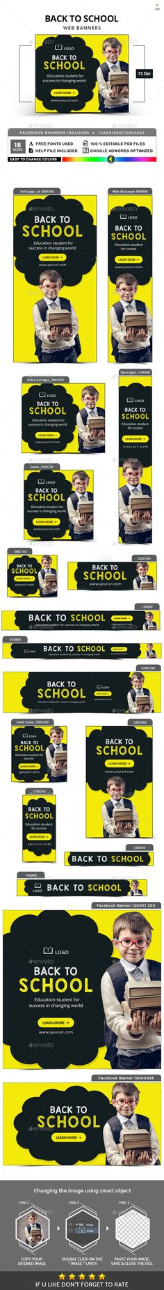 #Back #to #School #Banner #Template - Banners & Ads Web Elements #design. download: https://graphicriver.net/item/back-to-school-banners/20369004?ref=yinkira