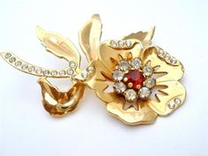 Vintage Red Rhinestone Flower Brooch Gold Large Layered Pin Prong Set | eBay