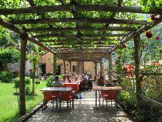 Restaurant terrace of the Osteria Vittoria Hotel in Lavertezzo, canton of Ticino, Switzerland ✯ ωнιмѕу ѕαη∂у
