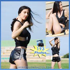 adidas shinyshorts | PHOTOSET 140 | Black very shiny nylon shorts and black top