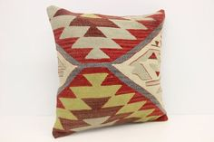 Anatolian Kilim Pillow Cover 18 x 18 Organic by kilimwarehouse Stenciled Pillows, Kilim Pillows, Cushions, Throw Pillows, Natural Pillows, Handmade Pillow Covers, Stencils, Organic, Antiques