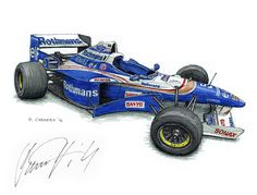 """Williams FW18  - 1996 Championship-winning F1 car - Autographed by Damon Hill OBE I sketched this live at the 2016 Race Retro.  Pencil, pen&ink and Jack Daniels Honey Whiskey on 12""""x 9"""" watercolour paper. © Paul Chenard 2016   Original art and limited editions available."""